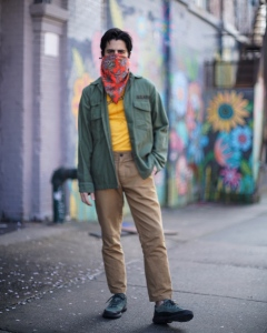 Rob mangano fashion blogger in Brooklyn wearing a vintage military inspired outfit.